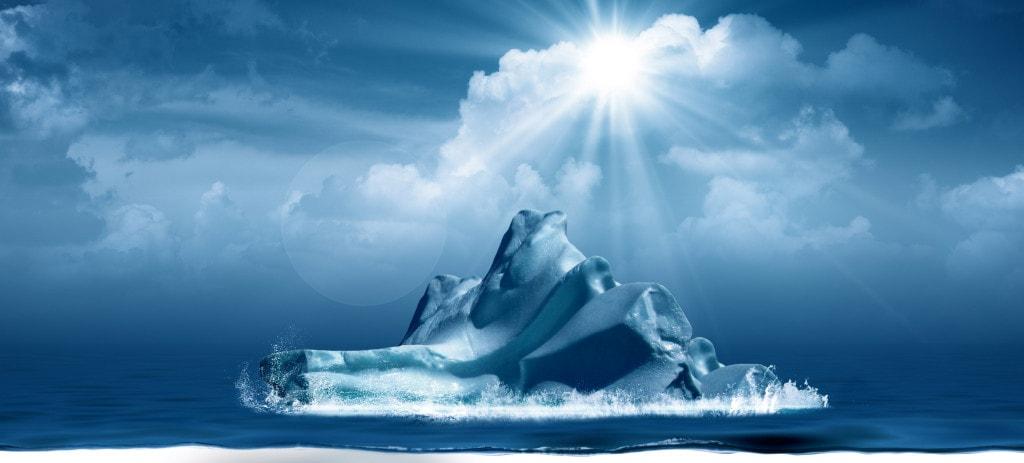 Eisberg Grafik im Meer an der Wasseroberfläche