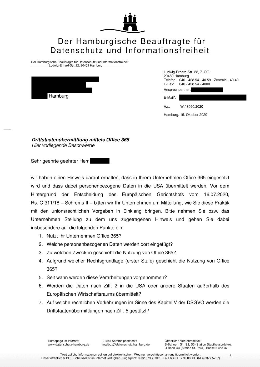 Schreiben des Hamburgischen Beauftragten für Datenschutz und Informationsfreiheit - Teil 1