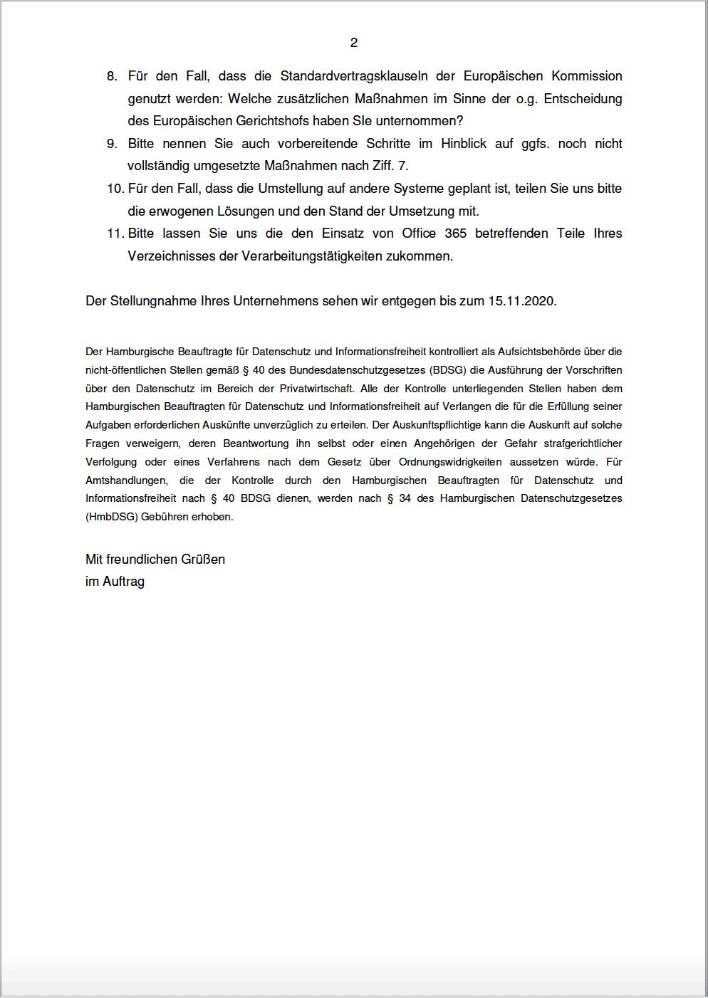 Schreiben des Hamburgischen Beauftragten für Datenschutz und Informationsfreiheit - Teil 2